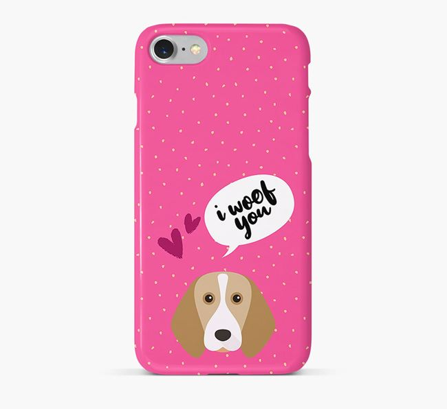 'I Woof You!' Pattern Phone Case with Beagle Icon