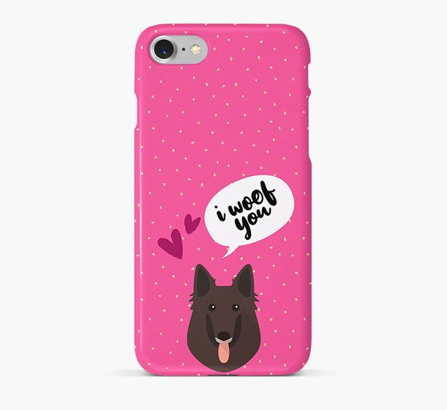 'I Woof You!' Pattern Phone Case with Belgian Groenendael Icon
