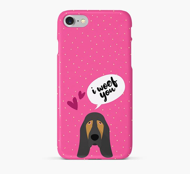 'I Woof You!' Pattern Phone Case with Bloodhound Icon