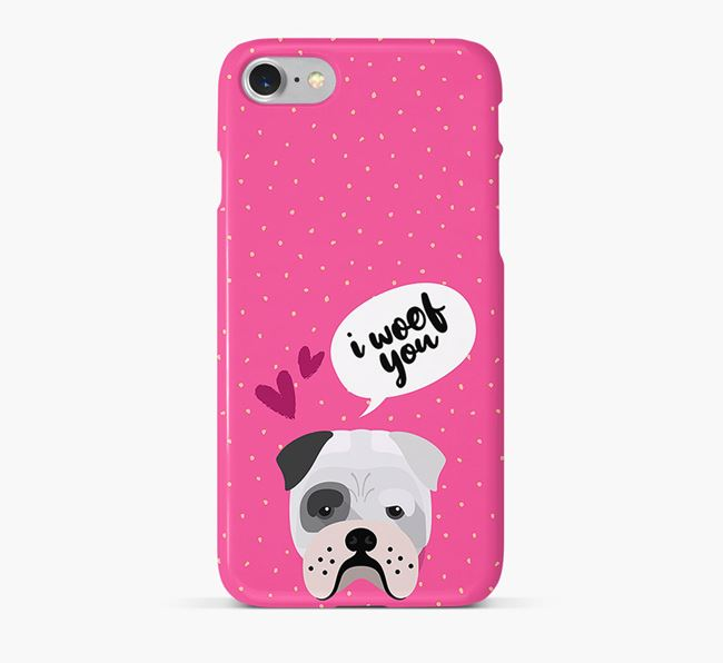 'I Woof You!' Pattern Phone Case with Bull Pei Icon