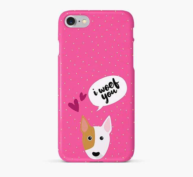 'I Woof You!' Pattern Phone Case with Bull Terrier Icon