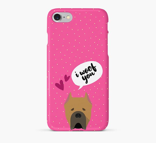 'I Woof You!' Pattern Phone Case with Cane Corso Italiano Icon