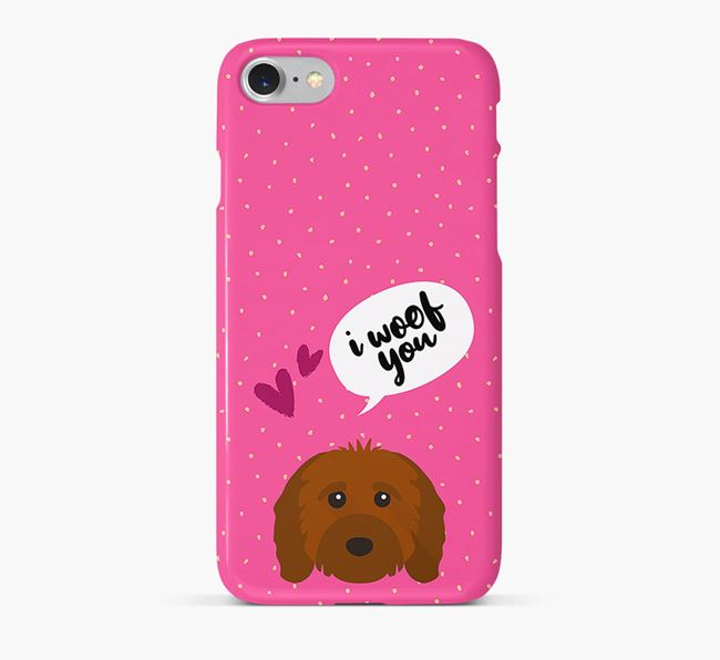 'I Woof You!' Pattern Phone Case with Cavapoo Icon