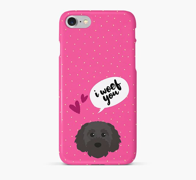 'I Woof You!' Pattern Phone Case with Cavapoochon Icon