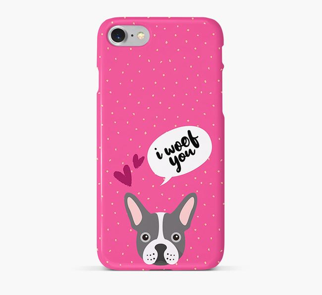 'I Woof You!' Pattern Phone Case with French Bulldog Icon