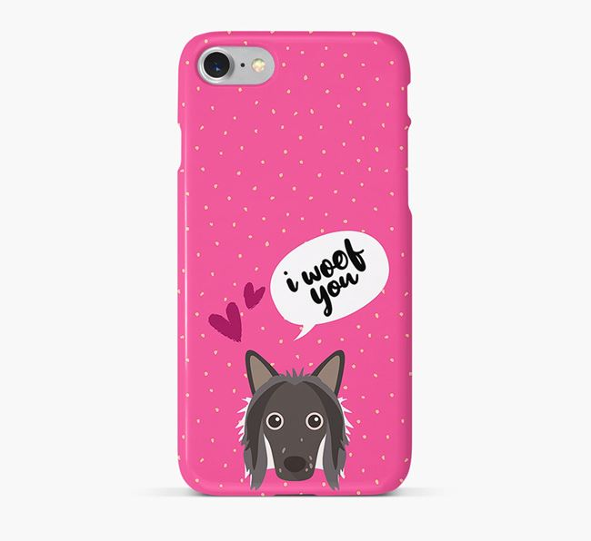 'I Woof You!' Pattern Phone Case with Hairless Chinese Crested Icon