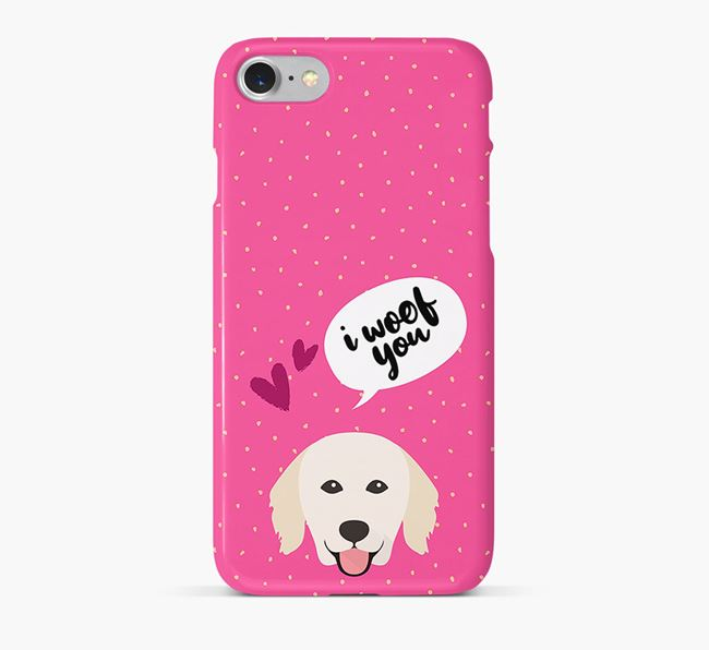 'I Woof You!' Pattern Phone Case with Hungarian Kuvasz Icon