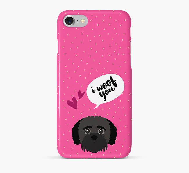 'I Woof You!' Pattern Phone Case with Jack-A-Poo Icon
