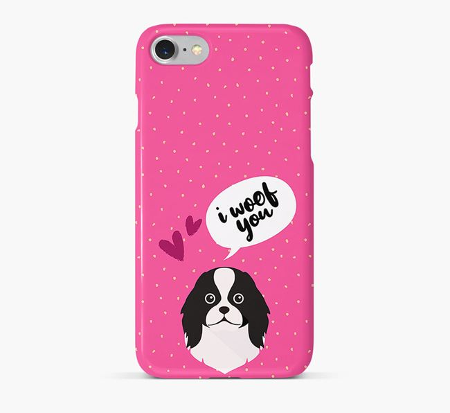'I Woof You!' Pattern Phone Case with Japanese Chin Icon