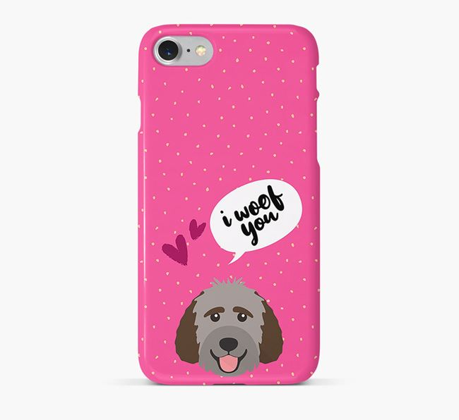 'I Woof You!' Pattern Phone Case with Labradoodle Icon