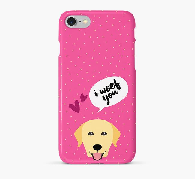 'I Woof You!' Pattern Phone Case with Dog Icon