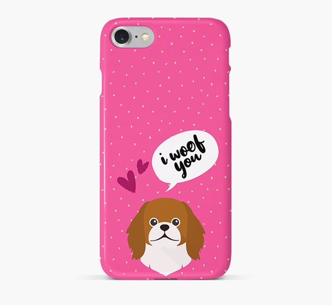 'I Woof You!' Pattern Phone Case with Pekingese Icon