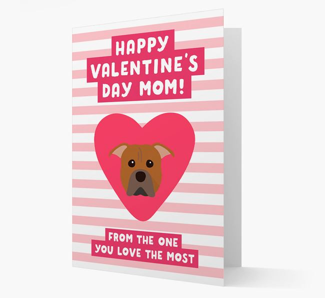 'Happy Valentine's Day Mum' Card with your American Pit Bull Terrier Icon