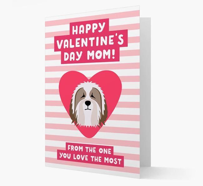 'Happy Valentine's Day Mum' Card with your Bearded Collie Icon