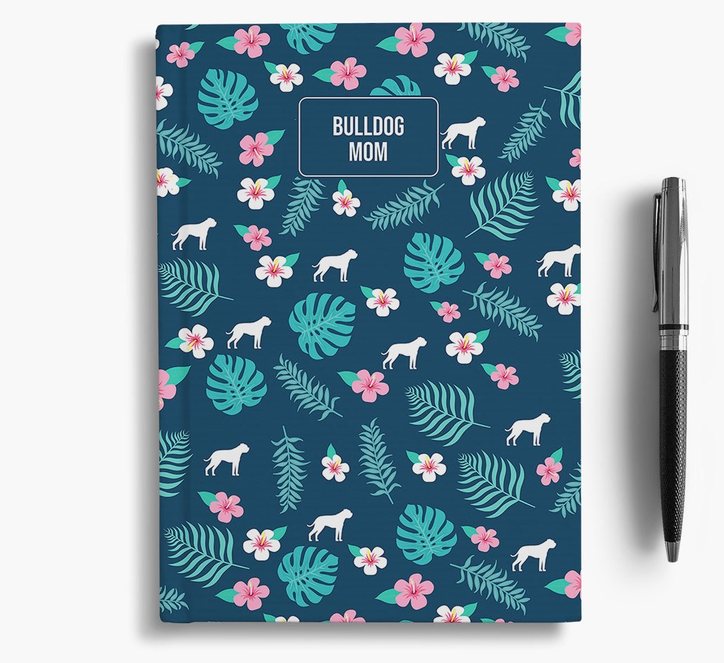 'American Bulldog Mom' Notebook with Floral Pattern