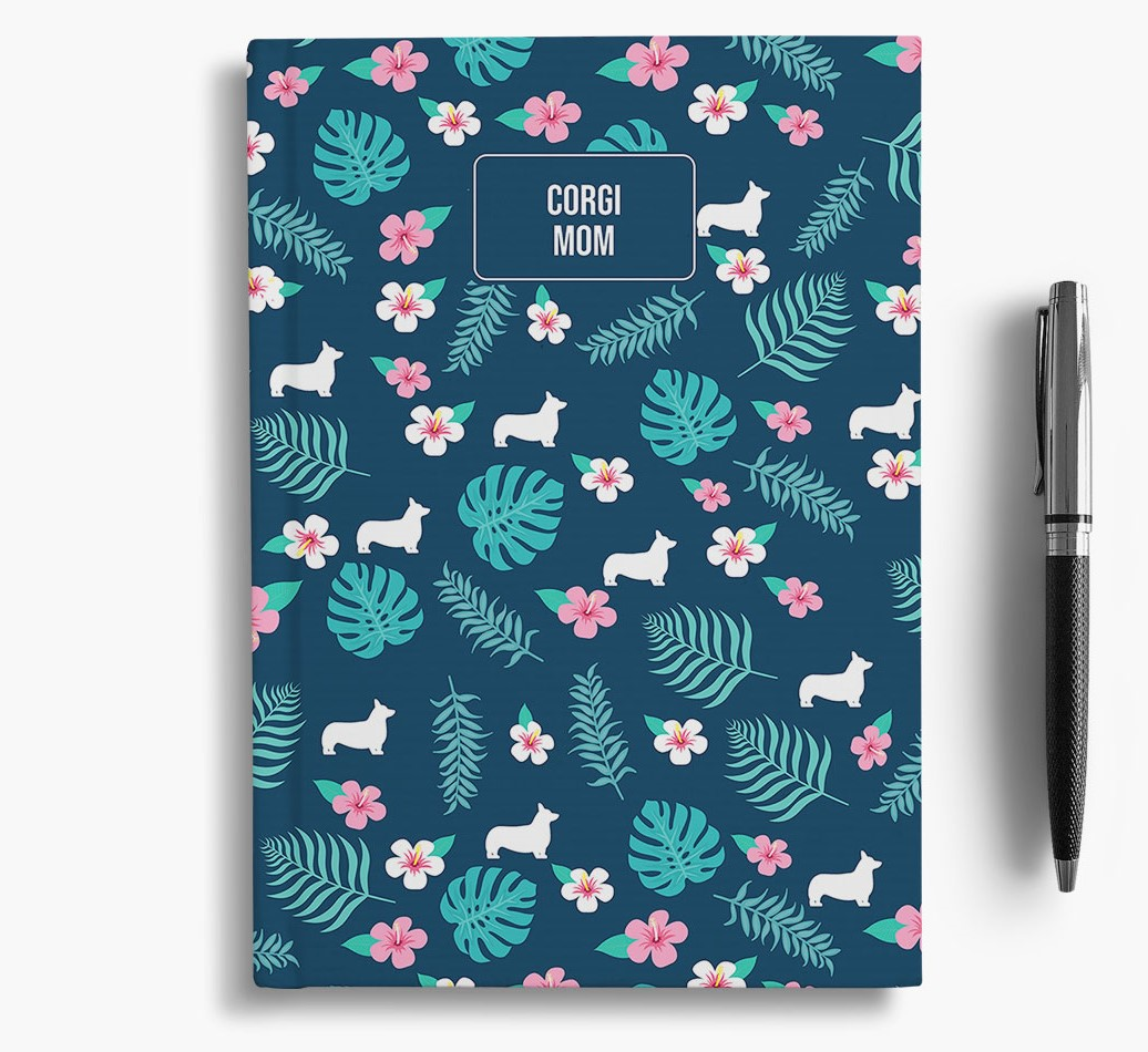 'Corgi Mom' Notebook with Floral Pattern