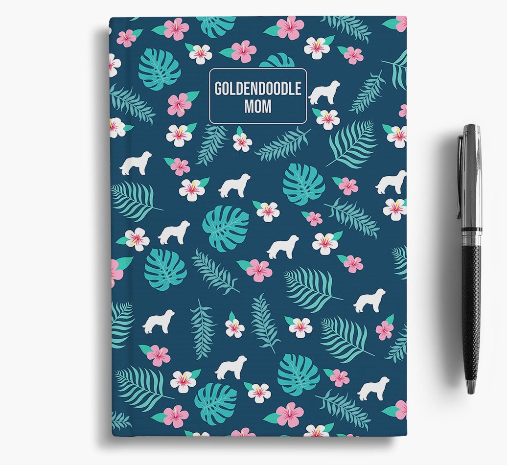 'Goldendoodle Mom' Notebook with Floral Pattern
