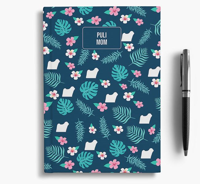 'Hungarian Puli Mom' Notebook with Floral Pattern