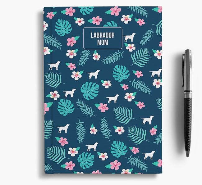 'Labrador Retriever Mom' Notebook with Floral Pattern
