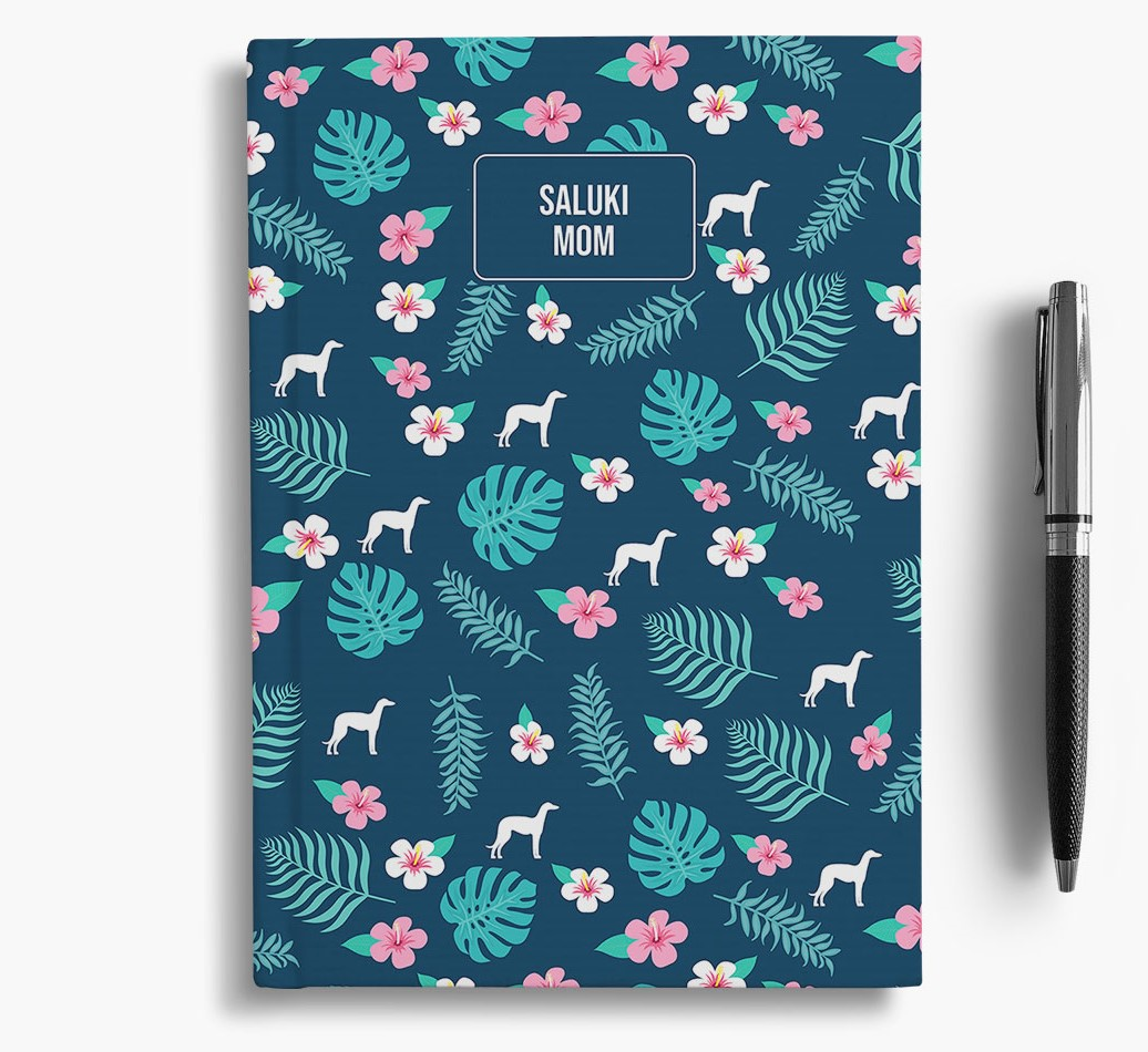 'Saluki Mom' Notebook with Floral Pattern