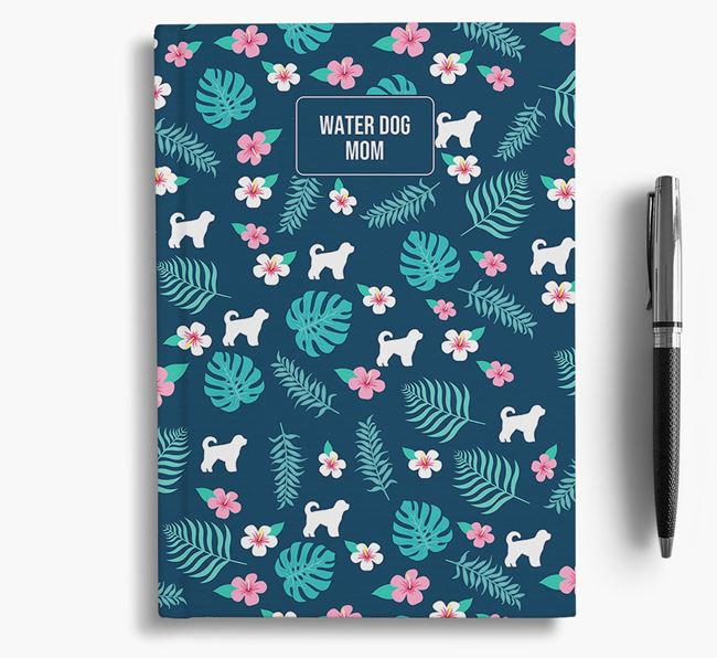 'Dog Mom' Notebook with Floral Pattern