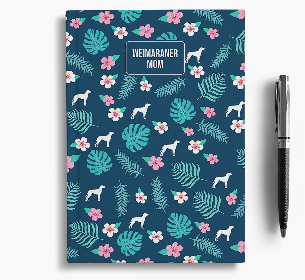 'Weimaraner Mom' Notebook with Floral Pattern