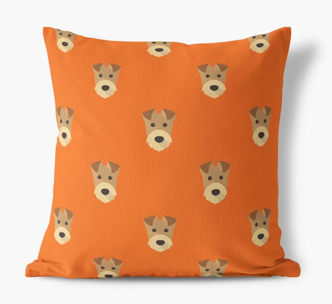 Airedale Terrier Yappicon Pattern Canvas Cushion