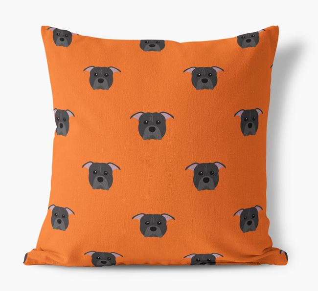 American Pit Bull Terrier Yappicon Pattern Canvas Pillow
