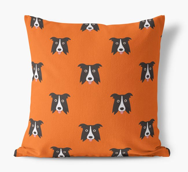 Border Collie Yappicon Pattern Canvas Cushion