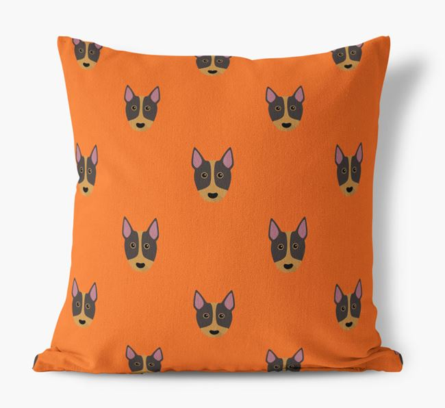 Bull Terrier Yappicon Pattern Canvas Pillow