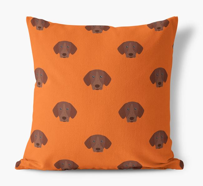 German Shorthaired Pointer Yappicon Pattern Canvas Pillow