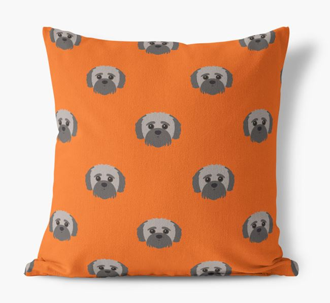 Jack-A-Poo Yappicon Pattern Canvas Cushion