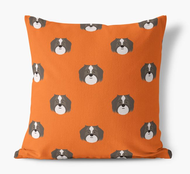 Shorkie Yappicon Pattern Canvas Pillow