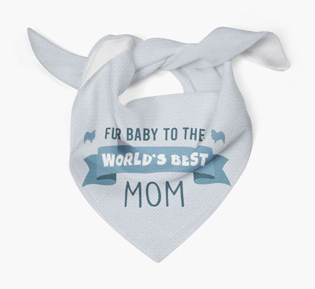 'Fur Baby to the World's Best Mom' Bandana with Japanese Chin Silhouette