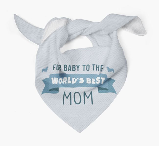 'Fur Baby to the World's Best Mom' Bandana with Pembroke Welsh Corgi Silhouette
