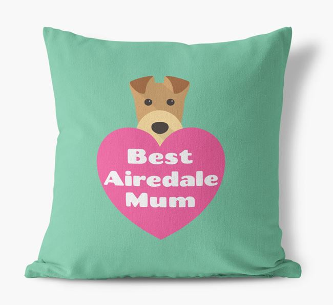 'Best Airedale Mum' Cushion with Airedale Terrier Icon