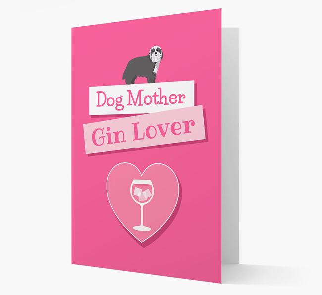 'Gin Lover' Card with your Bearded Collie Icon