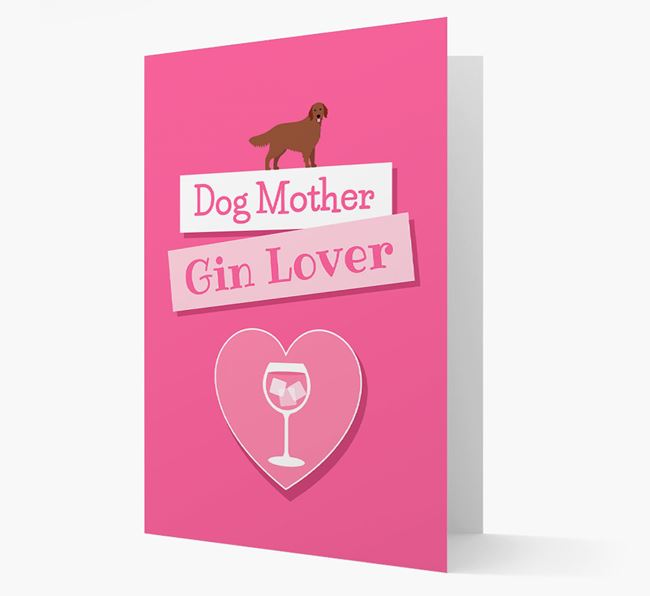 'Gin Lover' Card with your Flat-Coated Retriever Icon