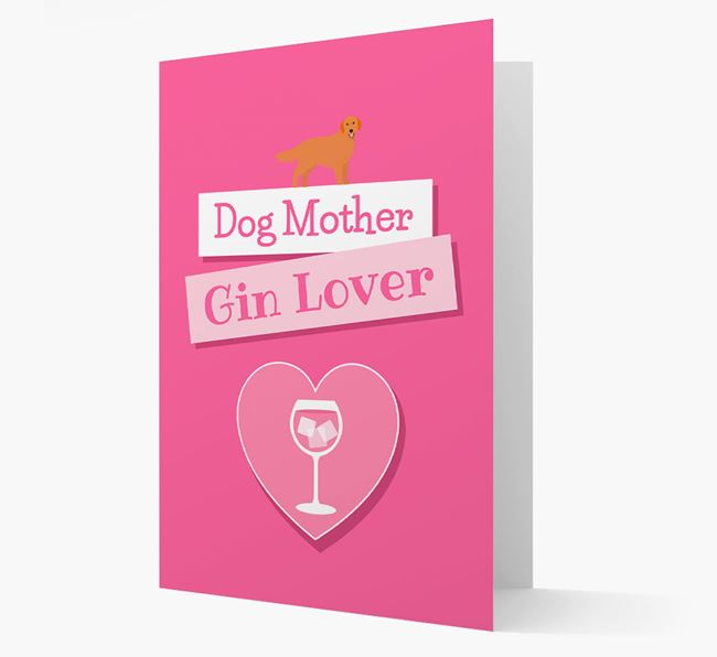 'Gin Lover' Card with your Golden Retriever Icon