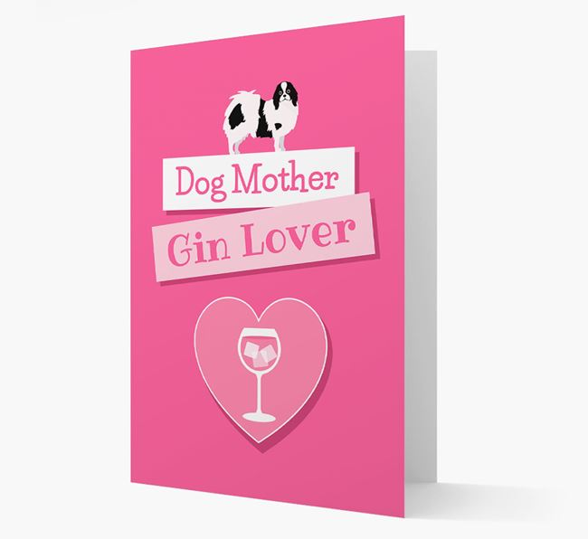 'Gin Lover' Card with your Japanese Chin Icon