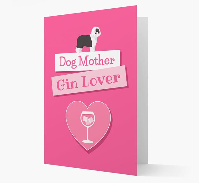'Gin Lover' Card with your Old English Sheepdog Icon