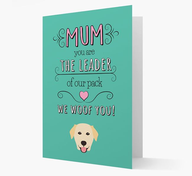 'The Leader Of Our Pack' Card with your Golden Labrador Icon