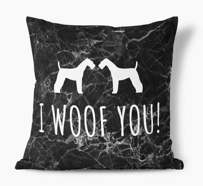 Airedale I Woof You Faux Suede Cushion