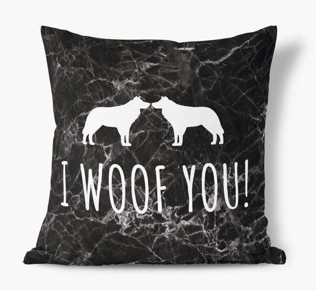 Border Collie I Woof You Faux Suede Cushion