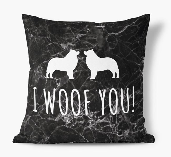 Schipperke I Woof You Faux Suede Cushion