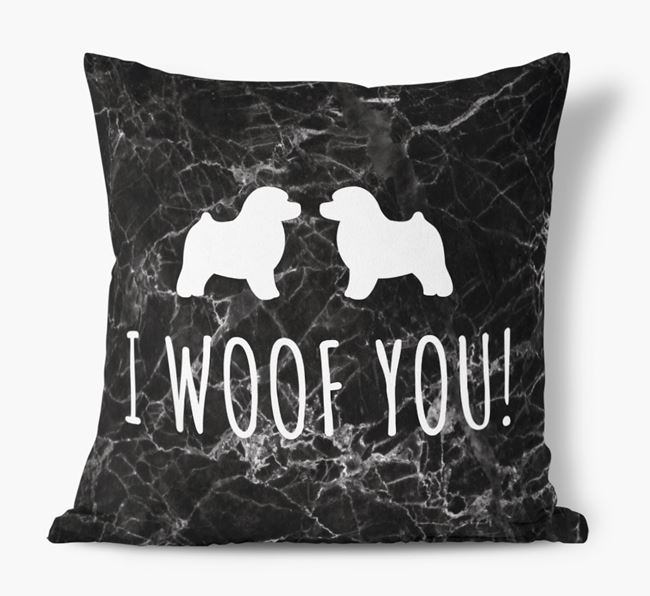 Toy Poodle I Woof You Faux Suede Cushion