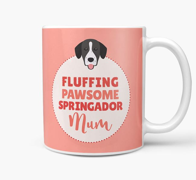'Fluffing Pawsome Dog Mum' Mug with Springador Icon