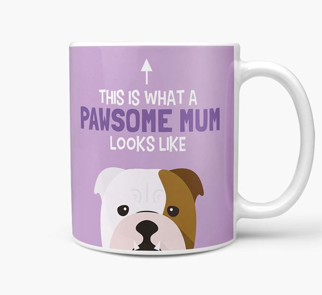 'Pawsome Dog Mum' Mug with English Bulldog Icon