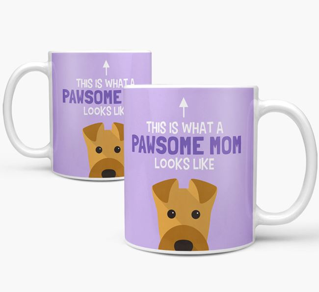 'Pawsome Dog Mom' Mug with Airedale Terrier Icon
