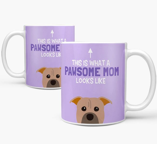 'Pawsome Dog Mom' Mug with American Pit Bull Terrier Icon